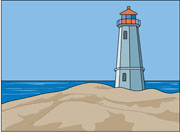 Lighthouse on Rocky Shore Clipart