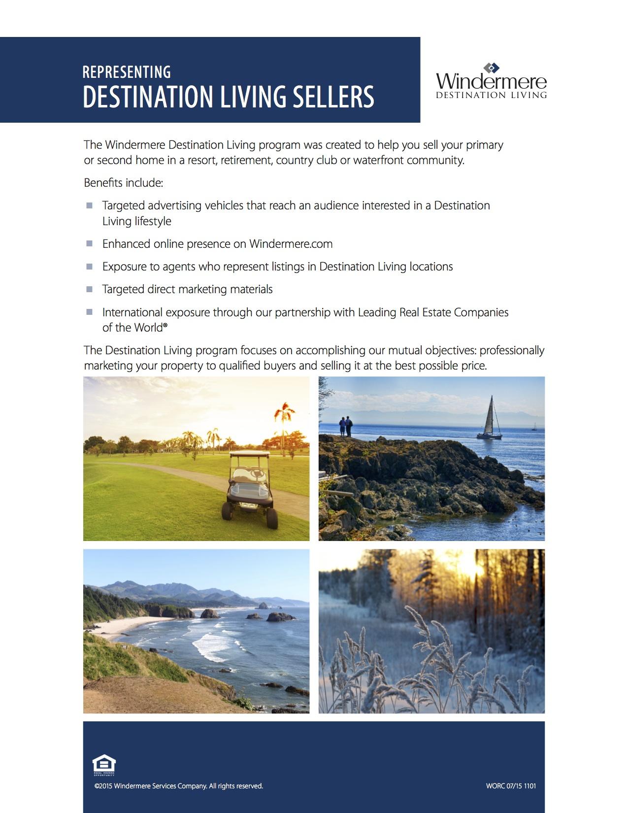 Destination Living Seller Presentation Sheet