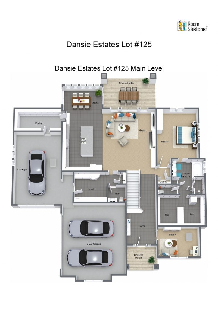 Lot #125 Main Level - 3D Floor Plan