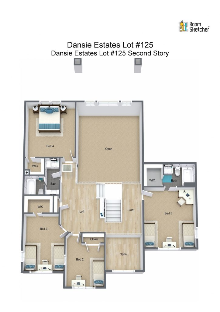 Lot #125 Second Story - 3D Floor Plan