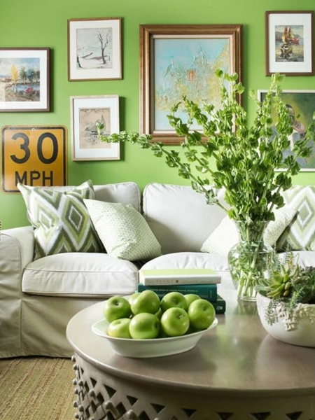 An accent wall can immediately brighten interiors and plays beautifully with muted furniture.