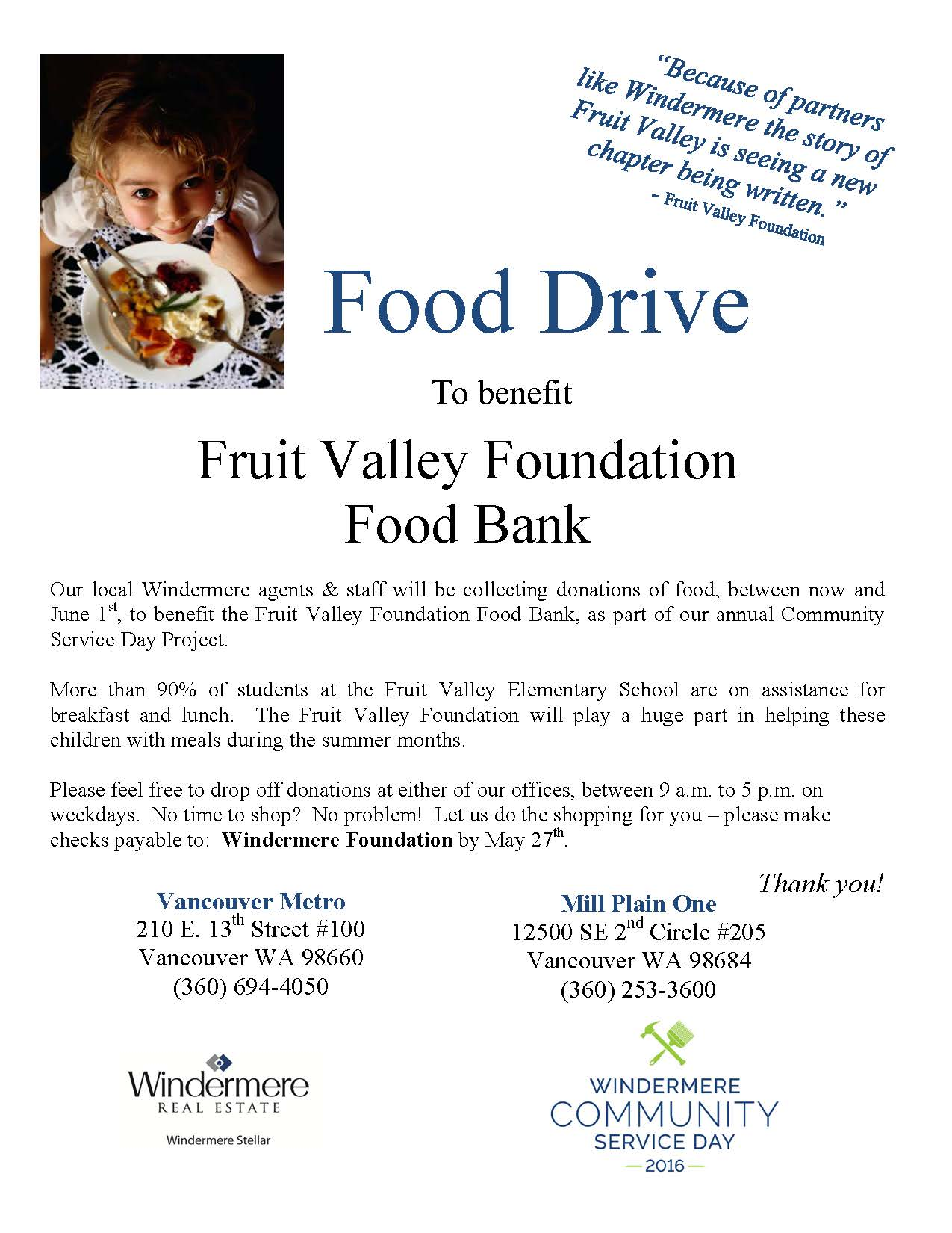 Food Drive Small Flyer 2016
