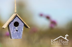 A bird house or bird box in autumn, fall, summer or spring sunsh